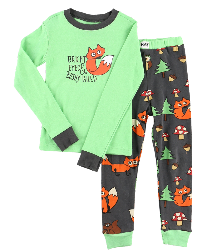 Bright Eyed and Bushy Tailed Fox - Kids Long Sleeve PJ Set - Lazy One®